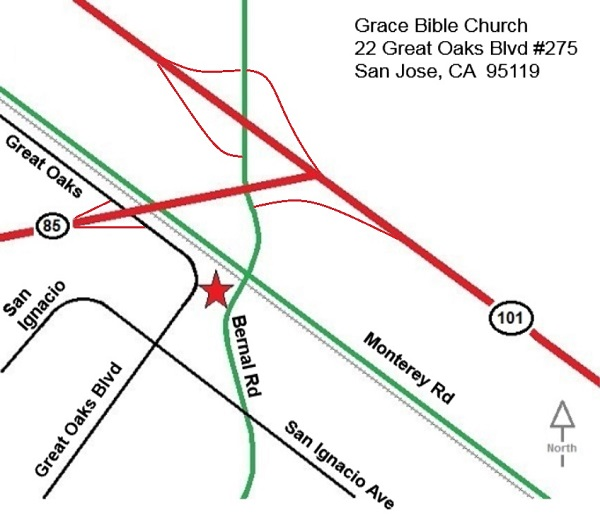 location map for Grace Bible Church